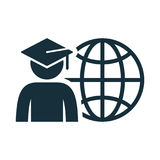 World graduating cap student globe. Icon on white background Royalty Free Stock Image