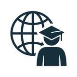 World graduating cap student globe icon. On white background Royalty Free Stock Images