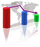 World graph. World map and statistic graph with reflection Stock Photos