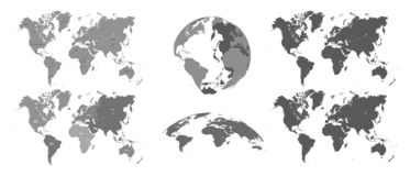 World gray maps. Map atlas, earth topography mapping silhouette vector isolated illustration set. World gray maps. Map atlas, earth topography mapping silhouette stock illustration