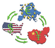 World Greatest Economies. The greatest economies in the world, USA, China and Europe. Illustration of economic relations and currency trading Stock Photo