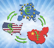 World Greatest Economies. The greatest economies in the world, USA, China and Europe. Illustration of economic relations and currency trading Stock Images