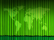 World Green curtain on theater stage. Global world green curtain on theater stage with drapes stock illustration
