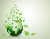 World and green leaves Royalty Free Stock Images