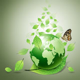 World and green leaves, butterfly Stock Photography