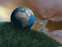 The world on green turf Stock Image