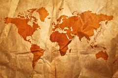 World grunge sepia map Stock Photo