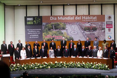 World Habitat Day in Aguascalientes, Mexico. Ceremony for the work of the World Habitat Day at the Teatro Aguascalientes Royalty Free Stock Photography