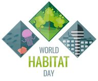 World Habitat Day, October. Cityscape, forest and marine life conceptual illustration Stock Images
