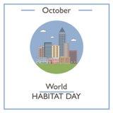 World Habitat Day, October. Vector illustration for you design, card, banner, poster and calendar Royalty Free Stock Image