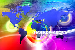 World Hacker Alert. An image for the concept of Worldwide network Hacker Alert Technology. This image shows a background containing computer code, the world and Royalty Free Stock Images