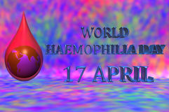 World Haemophilia day 17 April. 3D illustration. World Haemophilia day 17 April. An earth globe inside a blood drop with a red background Stock Image
