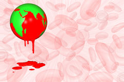 World Haemophilia day 17 April. An earth globe with a red sea dripping into a splash symbolizing bleeding, with a white and pink background with red blood Royalty Free Stock Image