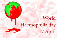 World Haemophilia day 17 April. An earth globe with a red sea dripping into a splash symbolizing bleeding, with a white and pink background with red blood Stock Photos