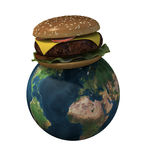 World with hamburger Stock Photos