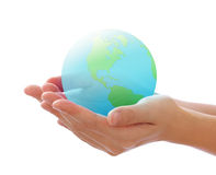 World in hand. Blue is sea, green is land, let us protect the earth together Royalty Free Stock Images