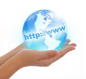 World in hand. Concept photography -- world in hand and global internet and  business