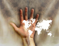 World on hand stock image