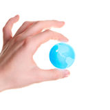 World in the hand. Isolated on white Royalty Free Stock Images