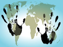 World in hand background. Illustration Stock Photos