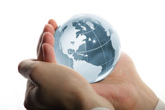 World in hand and business Royalty Free Stock Photos