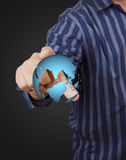 World in hand businessman. Royalty Free Stock Photos