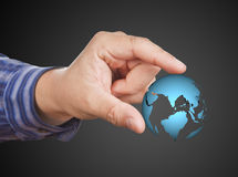 World in Hand businesswoman royalty free stock photos