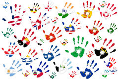 World hand flags Royalty Free Stock Image