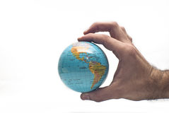World in hand isolated Royalty Free Stock Images
