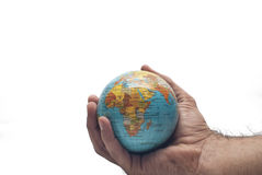 World in hand isolated Royalty Free Stock Photography