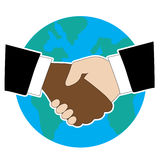 World Hand Shake. Hands shaking  - one is Black American and the other is White. There is a globe in the background Royalty Free Stock Image