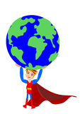 World in hand Superhero concept royalty free stock photography