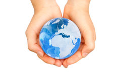 World in hands stock images