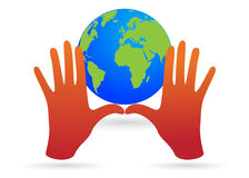 World in between hands Stock Photo