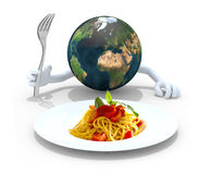 World with hands, fork in front of a spaghetti dish Royalty Free Stock Photo