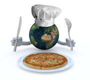 The world with hands, fork and knife in front of a pizza dish Royalty Free Stock Images