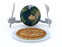 The world with hands, fork and knife in front of a pizza dish Stock Image