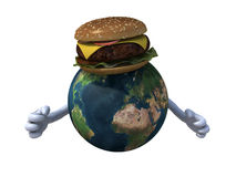 World with hands and a hamburger Stock Image