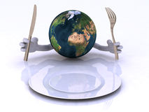 The world with hands and utensils Royalty Free Stock Photo
