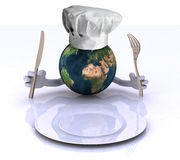 The world with hands and utensils Stock Photo