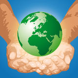 The world in the hands (vector) Stock Photography