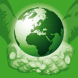 The world in the hands (vector) Stock Images
