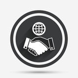 World handshake sign icon. Amicable agreement. Royalty Free Stock Photography