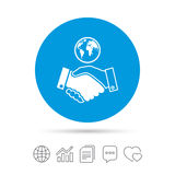 World handshake sign icon. Amicable agreement. Royalty Free Stock Photo