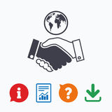 World handshake sign icon. Amicable agreement Stock Photo
