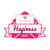 World Happiness day greeting emblem. World Happiness day emblem isolated raster illustration on white background. 20 march world positive holiday event label Stock Image