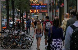 The world headquarters for NBC. New York, USA. 23rd August, 2016. The world headquarters for NBC News, the Saturday Night Live studios and the Rainbow Room royalty free stock photography