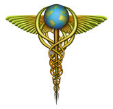 World Health Care. Digital illustration of a Caduceus, a symbol of medicine, designed to represent the idea of a worldwide Single Payer healthcare system and the Royalty Free Stock Photography