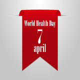 World Health Day on 7 April. Red ribbon on a gray background Vector Illustration