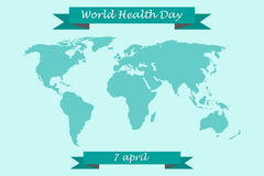 World Health Day on 7 April. World map with congratulatory ribbons Stock Image